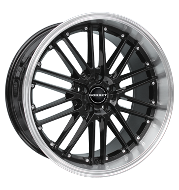 Borbet, CW2, 8x18 ET50 5x112 72,5, black rim polished